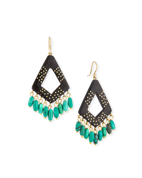 ASHLEY PITTMAN Mashua Dark Horn Dangle Earrings W/ Turquoise in Brown/Blue