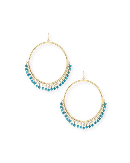 ASHLEY PITTMAN Mnara Bronze Hoop Earrings W/ Turquoise Dangles in Brown/Blue