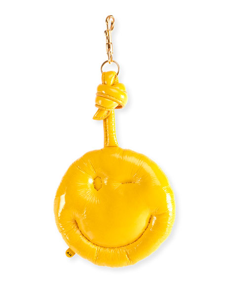 Ladies Honey Gold Chubby Wink Leather Bag Charm, Yellow