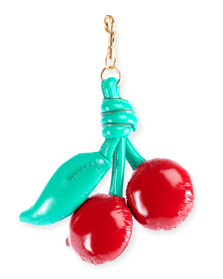 Red Cherry Print Chubby Leather Bag Charm