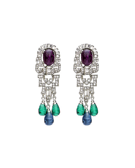Ben-Amun Triple Dangle Crystal Earrings