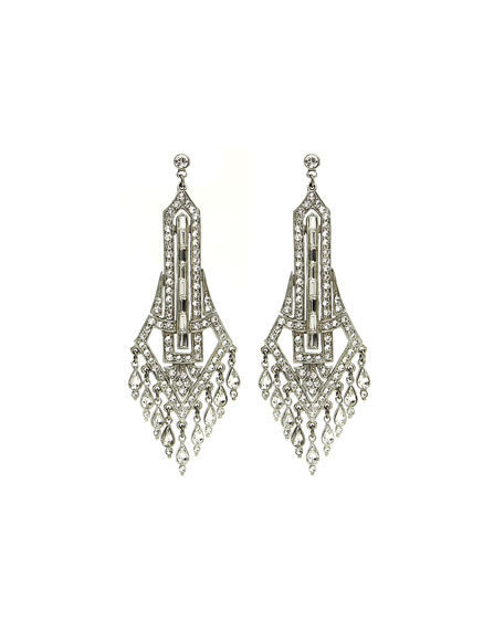 Ben-Amun Deco Chandelier Crystal Drop Earrings