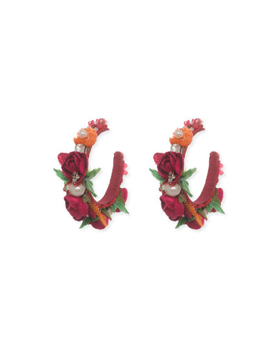 Evelyn-D Floral Hoop Earrings