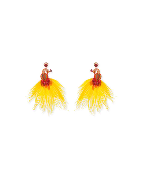 RANJANA KHAN Passerine Feather And Crystal Clip Earrings in Yellow