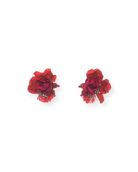 RANJANA KHAN Scarlet Rose Stud Earrings in Red