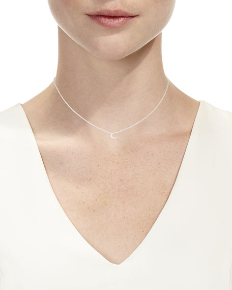 14k Diamond Moon Pendant Necklace