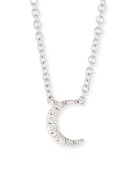 Ef collection 14k diamond moon pendant necklace aloadofball Image collections