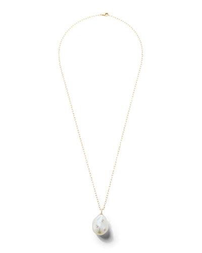 14k Baroque Pearl & Diamond Pendant Necklace