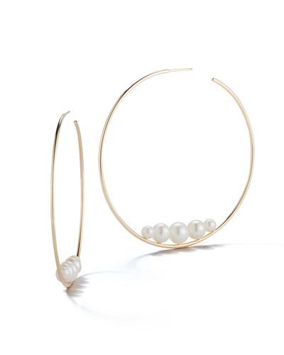 14k Floating Five-Pearl Hoop Earrings