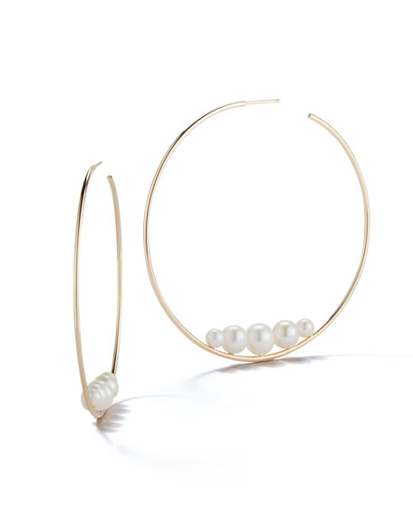 Mizuki 14k Floating Five-Pearl Hoop Earrings