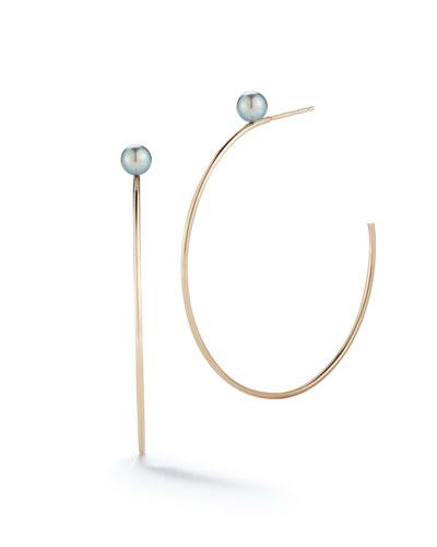 14k Black Pearl Hoop Earrings
