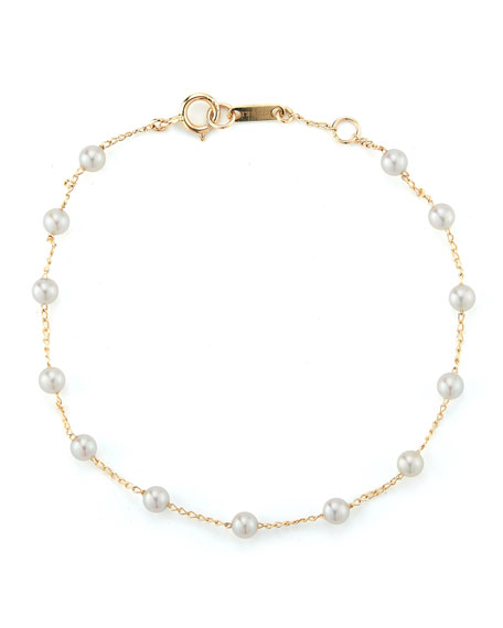 Four-Pearl Station Bracelet in Yellow Gold/ Pearl