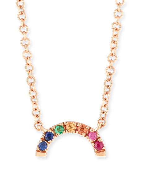 14k Rainbow Pendant Necklace