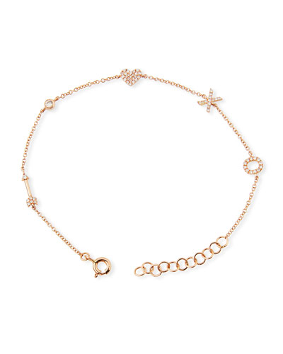 14k Diamond Sweetheart Charm Bracelet