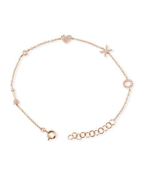 14k Diamond Sweetheart Charm Bracelet