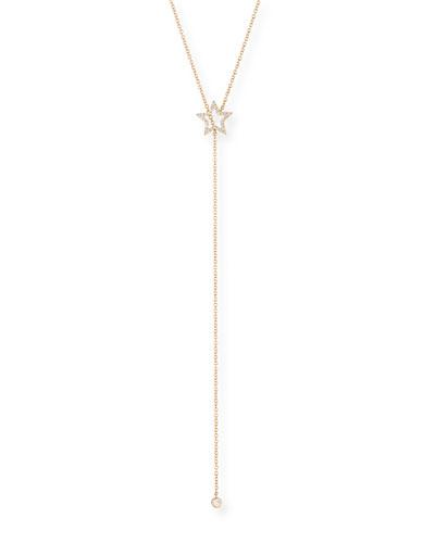 14k Diamond Open Star Lariat Necklace