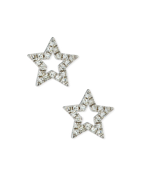 14K DIAMOND OPEN STAR STUD EARRINGS