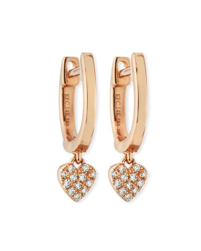 14k Mini Huggie Diamond Heart Drop Earrings