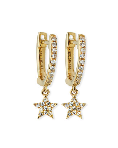 14k Mini Huggie Diamond Star Drop Earrings