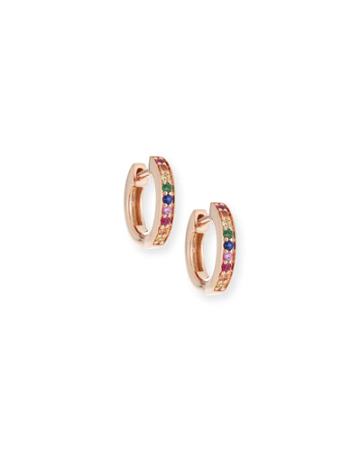 14k Rainbow Sapphire Huggie Hoop Earrings