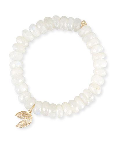 Mystic Moonstone Bracelet w/ 14k Fortune Cookie Charm