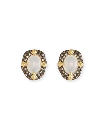 Old World Stone Stud Earrings, White Aquaprase