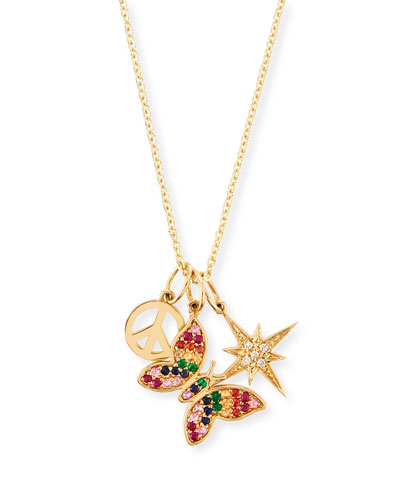 14k Peace  Butterfly & Starburst Trio Pendant Necklace