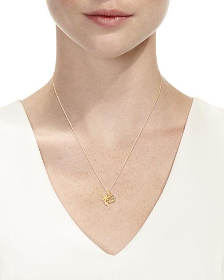 14k Daisy, Peace & Hummingbird Trio Pendant Necklace