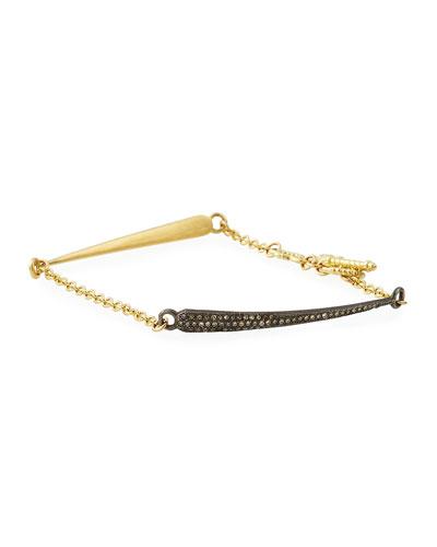 18k Old World Diamond Dagger Chain Bracelet