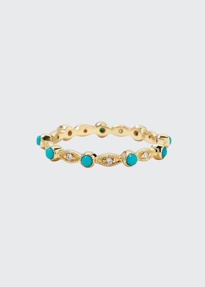 14k Turquoise & Diamond Eternity Band Ring