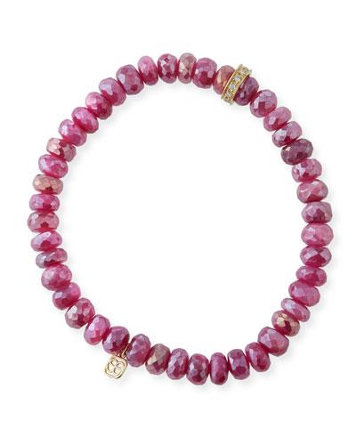 14k Diamond Rondelle Moonstone Bracelet