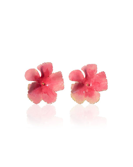 Wild Rose Hand-Painted Stud Earrings