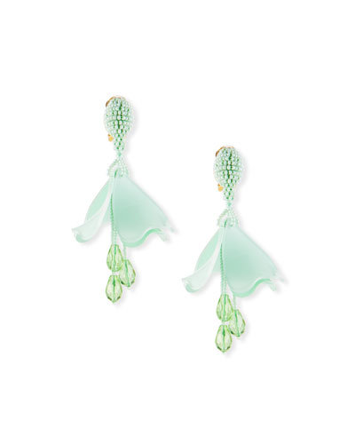 Small Impatiens Flower Clip-On Drop Earrings  Green