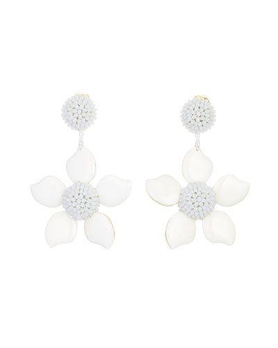Bold Resin Flower Clip-On Earrings