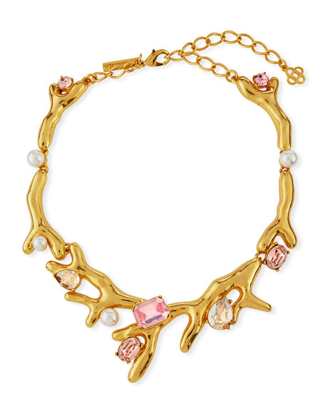 Oscar de la Renta Coral Choker Necklace w/