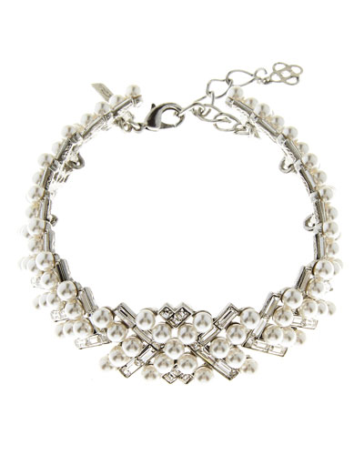 Pearly Baguette Statement Necklace