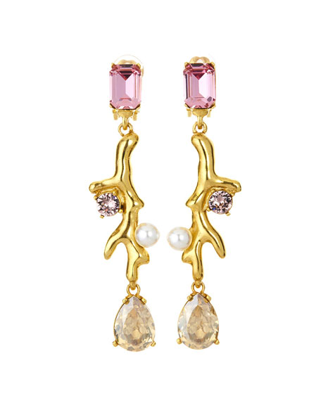 Oscar de la Renta Coral Crystal Drop Earrings