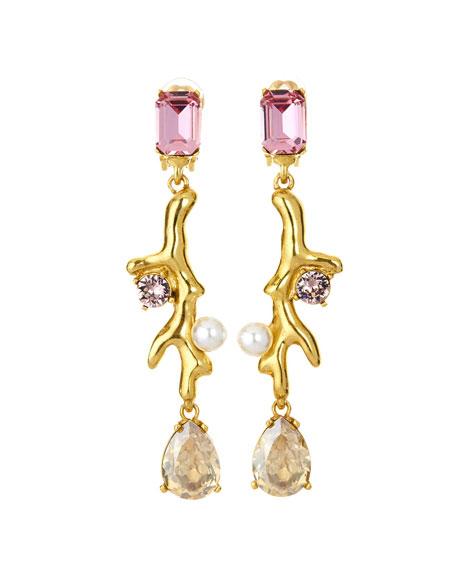 Coral Crystal Drop Earrings