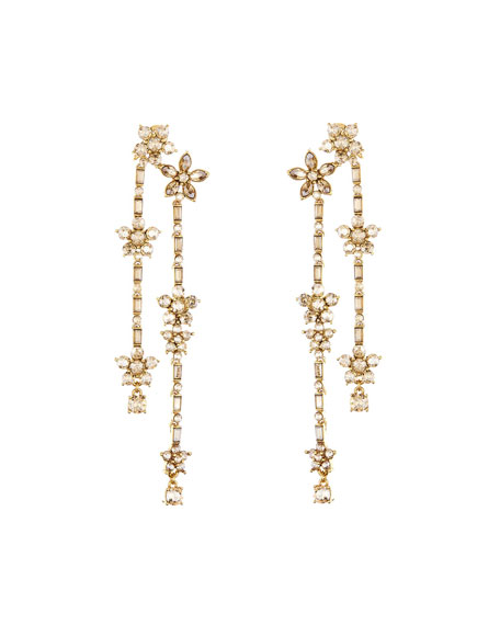 Oscar de la Renta Floral Crystal Drop Earrings