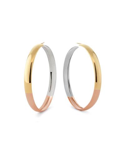 14k Tricolor Bubble Hoop Earrings, 60mm
