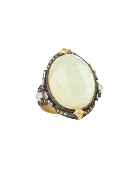 Armenta Old World Oval Opal Triplet Ring w/