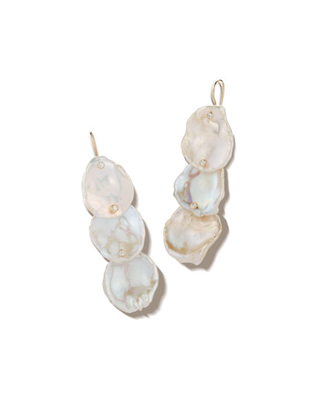 14k Triple Petal Pearl & Diamond Drop Earrings