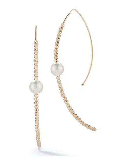 14k Marquise Bead & Pearl Hoop Earrings