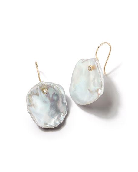 MIZUKI 14K Freshwater Petal Pearl & Diamond Drop Earrings in Yellow Gold