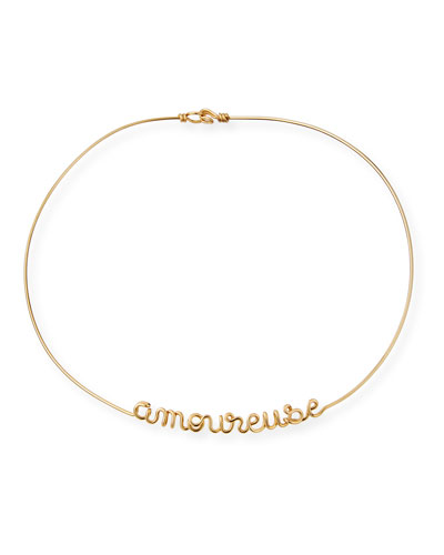 Personalized 6-Letter Wire Necklace, Yellow Gold Fill