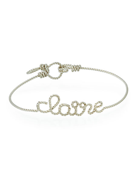Personalized 5-Letter Twist Wire Bracelet, Silver