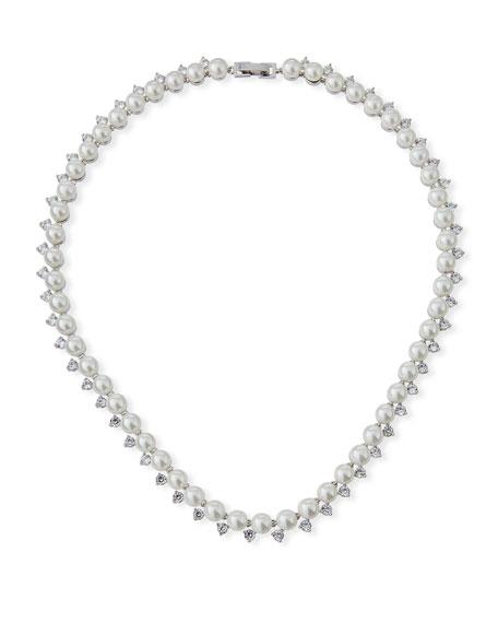 FALLON Micro Pearl Collar Necklace in Silver