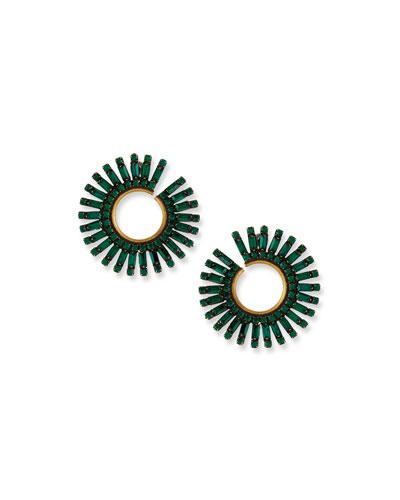 Green Baguette Crystal Curler Earrings