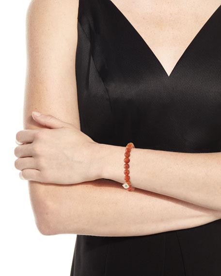 Rutilated Quartz Bead Bracelet w/ Evil Eye Charm