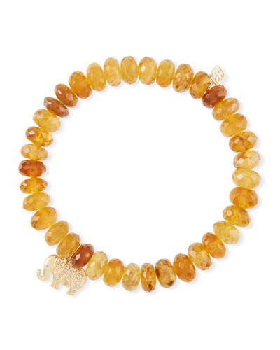Tourmaline Bead Bracelet w/ Elephant Charm